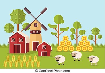 Vector farm flat illustration