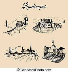 Vector farm landscapes illustrations set. Sketches of villa,...