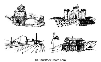 Vector farm landscapes illustrations set. Sketches of castle, agricultural homestead, watermill etc. Rural countryside