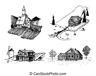 Vector farm landscapes illustrations set. Sketches of...
