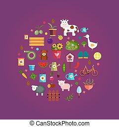 Vector farm life, purple background