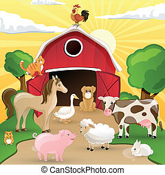 Vector Farm with Animals - Vector illustration of farm...