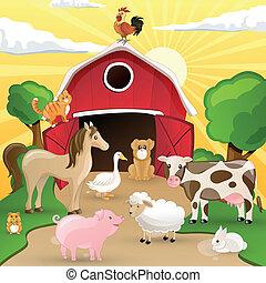 Vector Farm with Animals - Vector illustration of farm...