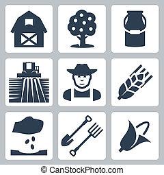 Vector farming icons set: barn, apple tree, milk can, field ...