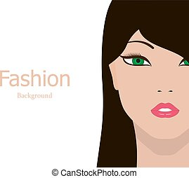 Vector fashion background beautiful girl face
