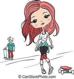Vector fashion beautiful girl with the skateboard