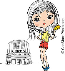 Vector fashion cute girl with cinema ticket