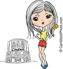 Vector fashion cute girl with cinema ticket