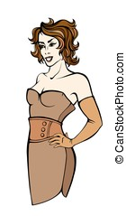 Vector fashion girl in a brown dress