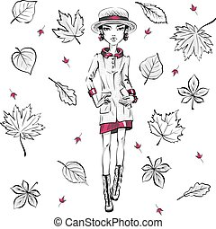 Vector fashion girl in autumn clothes