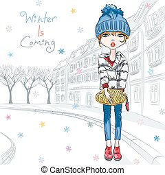 Vector fashion girl in winter clothes in old town - Vector...