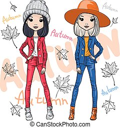 Vector fashion girls in autumn clothes