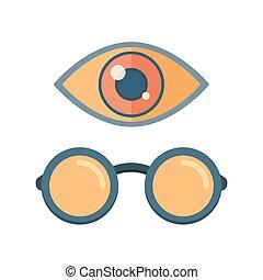 Vector fashion glasses and eye symbol.