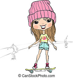 Vector fashion hipster baby girl on the skateboard