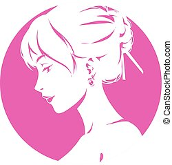 Vector fashion logo with woman face for hairdresser, spa ...