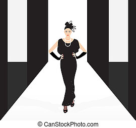 fashion model on the podium - vector fashion model on the...