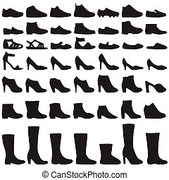 vector fashion shoes silhouette, set of icon boots