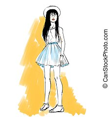 Vector fashion sketch of girl on white background.