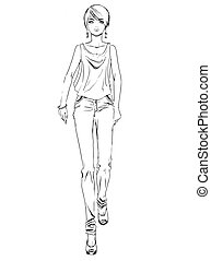 Vector fashion sketch of girl on white background