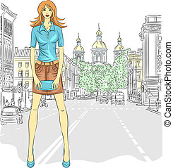 Vector fashionable attractive girl in a short skirt and a clutch bag in the street in St. Petersburg