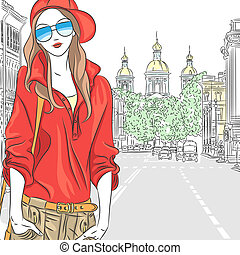 Vector fashionable attractive girl in red blouse, cap and glasses in the street in St. Petersburg