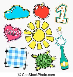 Vector fasion patch set isolated on white background. Cartoon pin with sun, apple, one, turtle, heart, good.