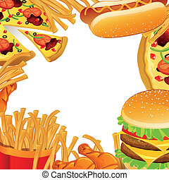 Vector Fast Food Background - Vector Illustration of a Fast...