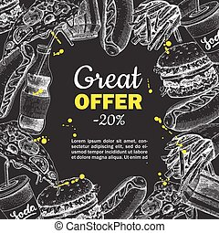 Vector fast food hand drawn special offer on blackboard.