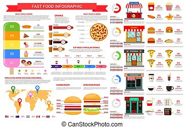 Vector fast food nutrition infographics elements