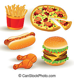 Vector Fast Food Set - Set with Colorful Vector Fast Food...