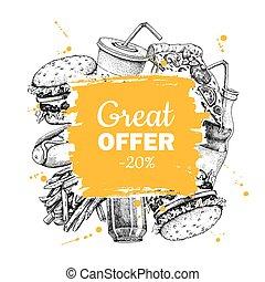 Vector fast food sketch square frame for special offer.