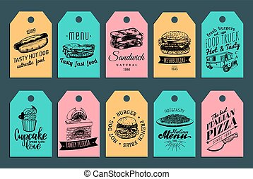 Vector fast food tags. Burgers, hot dogs, sandwich etc. illustrations. Vintage hand drawn quick meals labels collection.