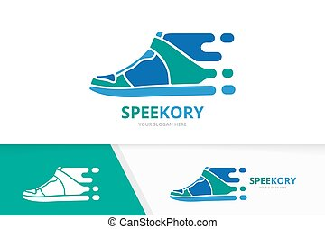 Vector fast sneaker logo combination. Speed shoe symbol or icon. Unique footwear and quick logotype design template.