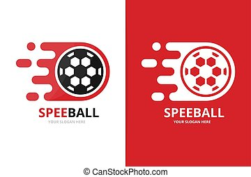 Vector fast soccer logo combination. Speed ball symbol or icon. Unique football and digital logotype design template.