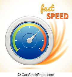 vector fast speed symbol, speedometer isolated