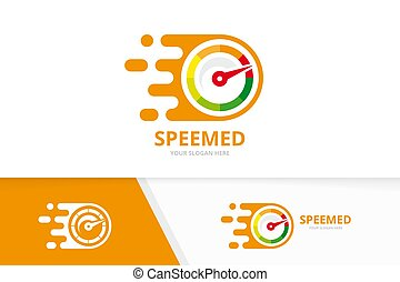 Vector fast speedometer logo combination. Speed tachometer ...