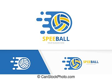 Vector fast volleyball logo combination. Speed symbol or icon. Unique ball and quick logotype design template.