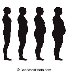vector fat body, weight loss, overweight silhouette illustration
