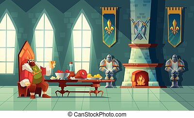 Vector feast concept, king eats food, meal