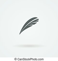 Vector Feather Icon. Logo. Pictogram. Button.