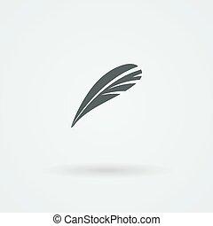 Vector Feather Icon. Logo. Pictogram. Button.