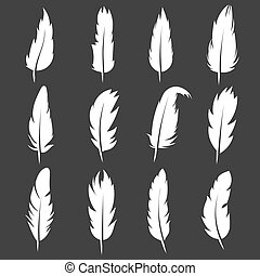 Vector feather vintage pens on black background
