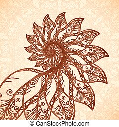 Vector feathers spiral in henna tattoo style