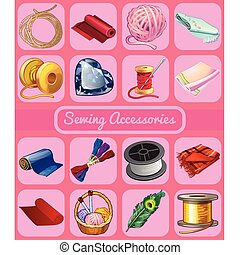 vector, feestje, schets, set, illustration., modieus, poster, accessoires, sewing., of, close-up, invitation., voorwerpen, needlework., kaarten, stickers, vakantie, spotprent