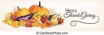vector., felice, bandiera, autunno, ringraziamento, vegetables.