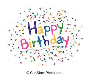 vector, feliz cumpleaños, tarjeta de felicitación