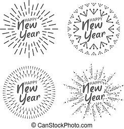 vector, feliz, ilustración, nuevo, composition., feriado, tipográfico, festivo, 2020, year.