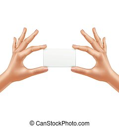 Vector Female Hands Holding Blank Card Isolated