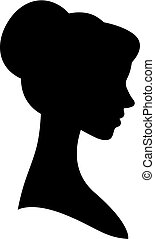 Vector female silhouette portrait in profile