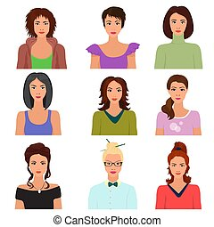 Vector Female woman character faces avatars in different clothes and hair styles.
